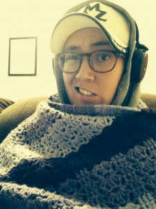 Me bundled up for the podcast during Snowmageddon